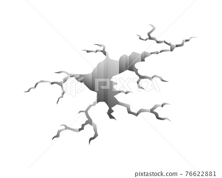 Crack after earthquake. Hole in ground and destruction crack. Aging or dried ground effects, land destruction. Cracked ground isolated on a white background 76622881