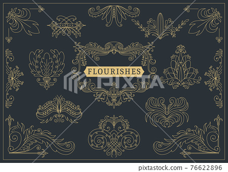 Flourishes calligraphic vintage ornamental background. Golden ornate page with swirls and vignettes elements. Frame design template 76622896