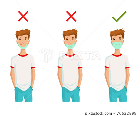 Illustration how to wear face mask correctly. Wrong method of wearing a mask. Tip how prevent the any viral infection. Man who protects himself from infectious diseases 76622899