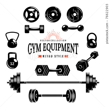 Gym equipment collection. Monochrome style of designed elements. Sports accessories set. Vector fitness equipment 76622903