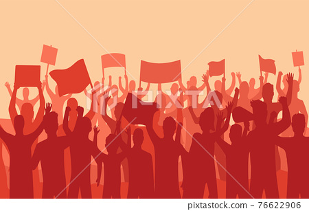 Peaceful protest and revolution. Silhouette of riot protesting crowd demonstrators with banners and flags. People on the meeting, crowd with banners. Vector illustration of conflict 76622906
