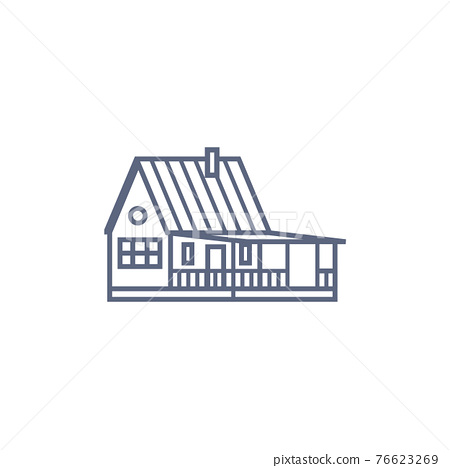 Cottage line icon - village house or wooden cabin in linear style on white background. Vector illustration. 76623269