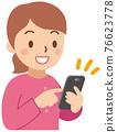 操作智能手機的婦女 76623778