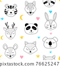 pattern with sleepng animals 76625247