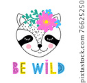 raccoon with floral wreath 76625250