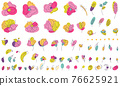 Bright colors floral summer elements with line-art 76625921