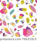 Floral seamless pattern with neon color summer 76625923