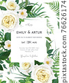 Vector art watercolor style floral wedding invite, invitation, save the date card, poster template design. Yellow roses, white camellia flowers, greenery fern leaves, green eucalyptus decorative frame 76626174