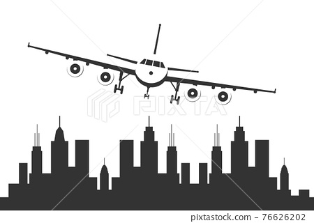 Airplane flying over a urban city. 76626202