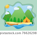 paper cut fishing art banner vector illustration 76626298