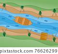paper cut fishing art banner vector illustration 76626299