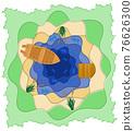 paper cut fishing art banner vector illustration 76626300