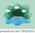 paper cut fishing art banner vector illustration 76626301