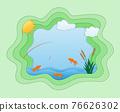 paper cut fishing art banner vector illustration 76626302