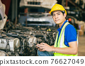 Asian Male Engineer Worker Working usign tablet to check old used Car Engine. 76627049