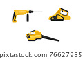 Yellow Power Tool for Construction Work Like Drilling and Polishing Vector Set 76627985