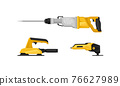 Yellow Power Tool for Construction Work Like Drilling, Shaping and Polishing Vector Set 76627989