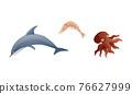Ocean Underwater Animals with Octopus and Shrimp Vector Set 76627999