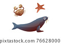 Ocean Underwater Animals with Crab and Starfish Vector Set 76628000