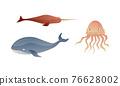 Ocean Underwater Animals with Floating Swordfish and Jellyfish Vector Set 76628002
