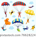 Parachutist vector set 76628224