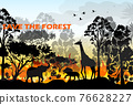 Burning forest vector 76628227