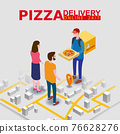 Pizza Delivery Service Isometric concept. Courier gives pizza box to couple woman and man, map city. Fast 24 7 shipping, online food order template banner. Vector illustration 3d isolated 76628276