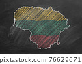 Lithuania. Map with flag, hand drawn chalk illustration 76629671