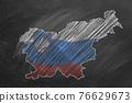 Slovenia. Map with flag, hand drawn chalk illustration 76629673