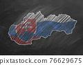 Slovakia. Map with flag, hand drawn chalk illustration 76629675
