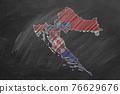 Croatia. Map with flag, hand drawn chalk illustration 76629676