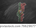Portugal. Map with flag, hand drawn chalk illustration 76629677