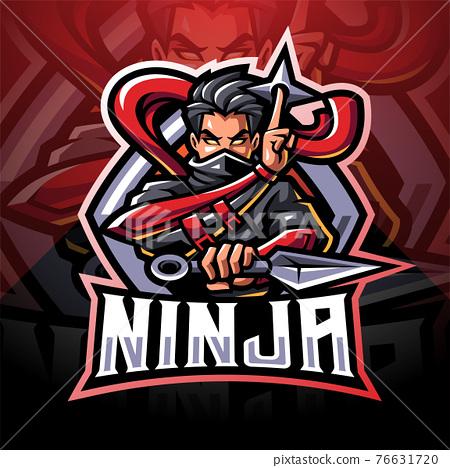 Ninja esport mascot logo design 76631720
