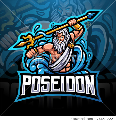 Poseidon esport mascot logo design with trident weapon 76631722