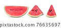 Sliced of watermelon on white background. 76635697