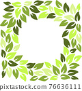 Eco style green leaves square frame. Eco friendle pattern with copyspace. Vector illustration. 76636111