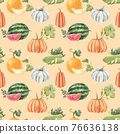 Beautiful seamless pattern with cute watercolor hand drawn melon watermelon and pumpkin vegetables. Stock illustration. 76636138