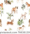 Beautiful seamless pattern with cute watercolor hand drawn dog breeds Cocker spaniel Greyhound Basset hound Poodle Bulldog and Welsh corgi pembroke . Stock illustration. 76636139
