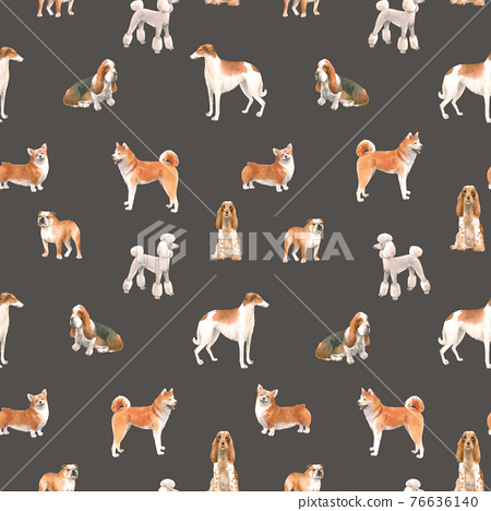 Beautiful seamless pattern with cute watercolor hand drawn dog breeds Cocker spaniel Greyhound Basset hound Poodle Bulldog and Welsh corgi pembroke . Stock illustration. 76636140