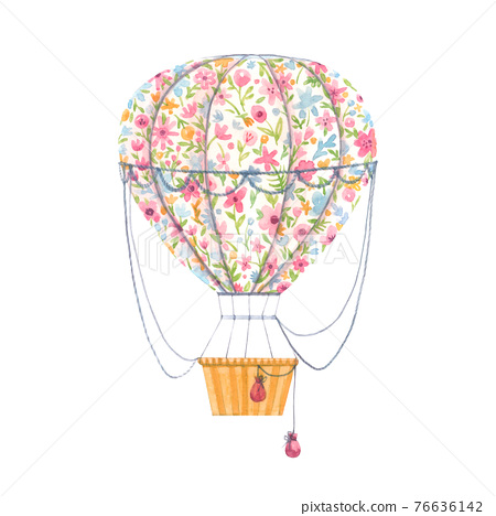 Beautiful image with cute watercolor hand drawn air baloon with gentle flowers. Stock illustration. 76636142