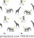 Beautiful seamless pattern with safari animal birthday party. Monkey on bike giraffe and elephant with baloons, 76636144
