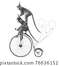 Beautiful stock illustration with cute hand drawn safari animal monkey on the bike with baloons. Birthday party. 76636152