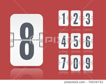 Vector white flip scoreboard template with reflected number floating on different height for countdown timer or calendar 76636782