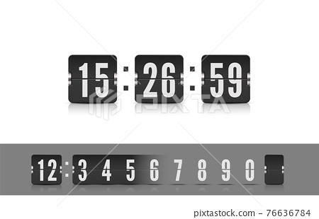 Vector coming soon web page design template with flip time counter. Scoreboard number font. Vector illustration template 76636784