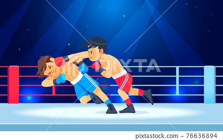Boy fighter or boxer loses and gets hit in the face while having a knockdown or Knockout in the boxing ring. Cartoon character, flat style vector illustration 76636894