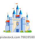 Medieval castle tower. Fairy tail, king fortress castle and fortified palace with gate. Cartoon vector illustration isolated on white background. 76639580