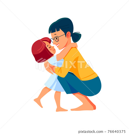 Cute little girl greeting her mother at home. Mother's day concept. Parent and child. Mom hugging her daughter with a lot of love and tenderness. Cartoon flat isolated vector design 76640375
