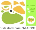 Cut and glue paper cartoon green plane. Cut and paste craft activity page. Educational game for preschool children. DIY worksheet. Kids logic game, activities jigsaw. Vector stock illustration. 76640991