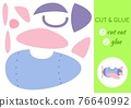 Cut and glue paper cartoon blue plane. Cut and paste craft activity page. Educational game for preschool children. DIY worksheet. Kids logic game, activities jigsaw. Vector stock illustration. 76640992