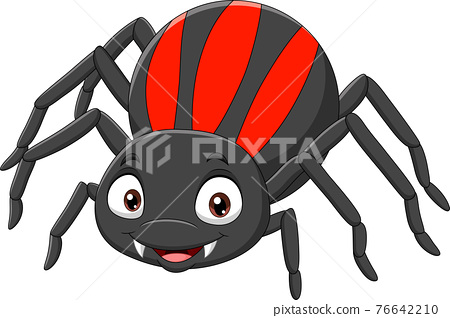 Cartoon funny spider on white background 76642210